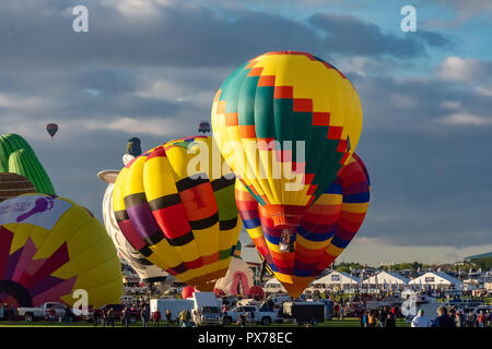 Albuquerque annually celebrates the world's largest hot air balloon fiesta in early October - Stock Photo