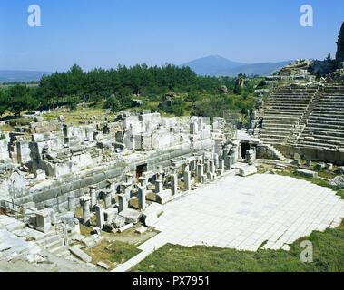 Turkey, Ephesus. Great Theater. It was built in Hellenistic times, 3rd century BC, and expanded by the Romans in the 1st century AD. - Stock Photo