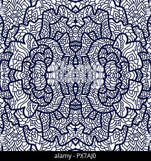 Abstract square pattern with asian motifs in oriental style. Vector illustration hand drawn. Line art design of fashion ,textile, invitation card. Til - Stock Photo