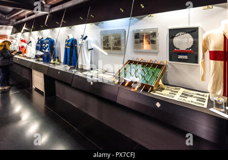 Exposition of football museum at San Siro Arena - Stock Photo