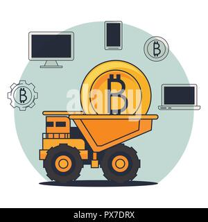 bitcoin mining technological devices - Stock Photo