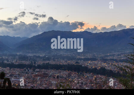 view over cuenca in the blue hour, ecuador - Stock Photo