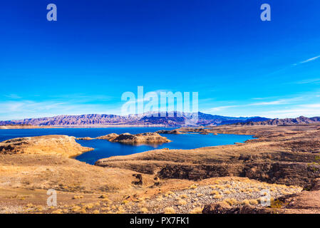 Lake Mead and desert area, Nevada, USA. Copy space for text - Stock Photo