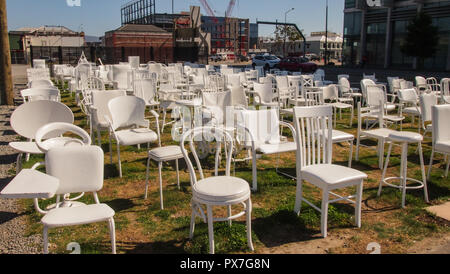 185 Empty Chairs, Memorial in Christchurch, South Island, New Zealand - Stock Photo
