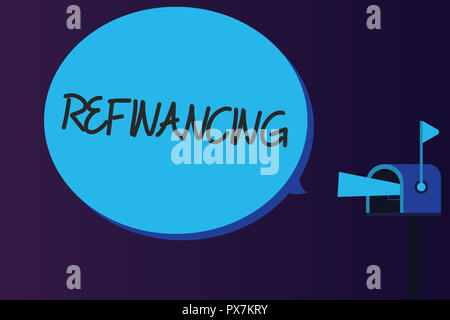 Word writing text Refinancing. Business concept for Finance again with new loans at a lower rate of interest. - Stock Photo