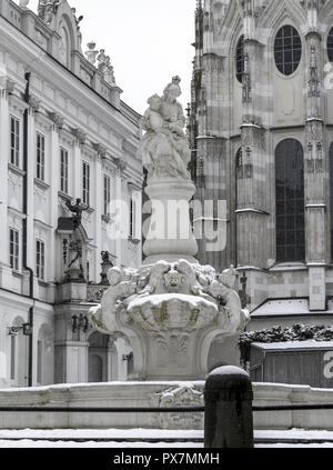 Passau, city view statue of Virgin Mary and Jesus, Germany, Southern Germany - Stock Photo
