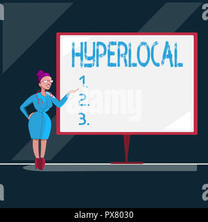 Writing note showing Hyperlocal. Business photo showcasing Relating to Concerning a small community or geographical area. - Stock Photo