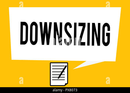 Handwriting text writing Downsizing. Concept meaning Make a company smaller by shedding staff Expenses reduction. - Stock Photo