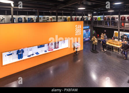 Exposition of San Siro arena museum. Milan, Italy - Stock Photo
