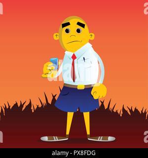 Yellow man drinking brandy. Vector cartoon illustration. - Stock Photo
