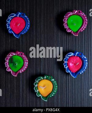 Diyas/Lamp decorated for Diwali celebration - Stock Photo