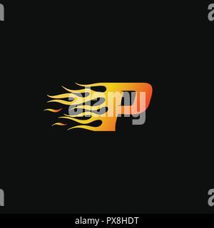 letter Burning flame logo design template - Stock Photo