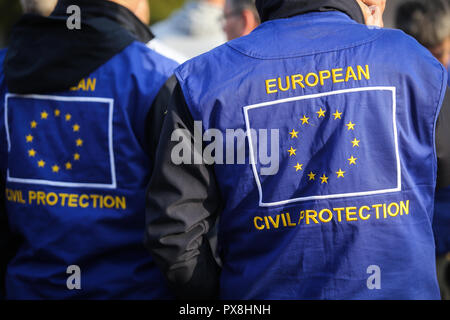 European civil protection and humanitarian aid operations uniform on a man - Stock Photo