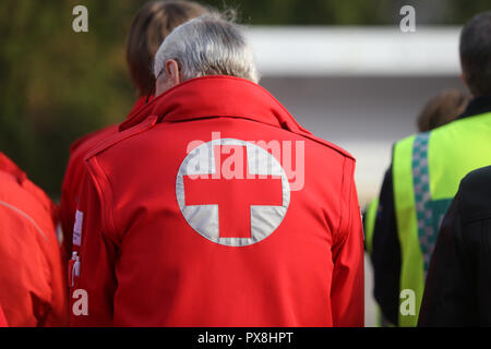 Details with the Austrian Red Cross symbol on a uniform - Stock Photo