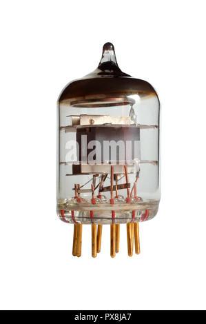 Pentode. Old radio lamp, isoalated on white background. - Stock Photo