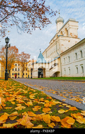 Belfry of St Sophia cathedral in Veliky Novgorod, Russia. Autumn view of Veliky Novgorod Russia landmark in cloudy October evening - Stock Photo