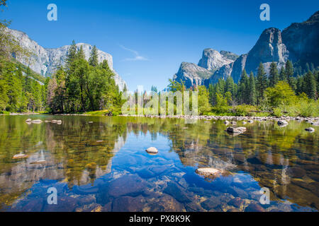 Classic view of scenic Yosemite Valley with famous El Capitan rock climbing summit and idyllic Merced river on a sunny day with blue sky and clouds - Stock Photo