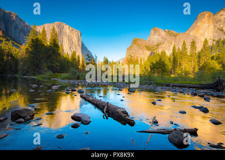 Classic view of scenic Yosemite Valley with famous El Capitan rock climbing summit and idyllic Merced river at sunset, California, USA - Stock Photo