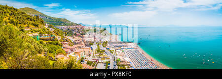 Beautiful view of Vietri sul Mare, the first town on the Amalfi Coast, with the Gulf of Salerno, province of Salerno, Campania, southern Italy - Stock Photo