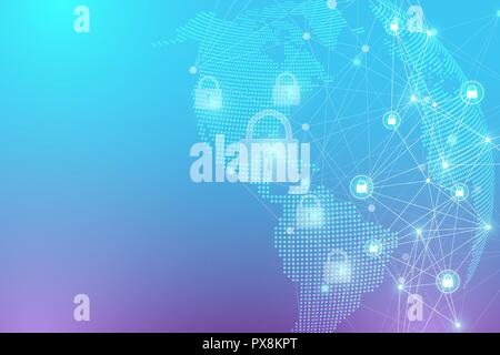 Protection concept. Data Security system Shield Protection Verification. Cyber security and information or network protection. Future cyber technology. System privacy. Vector illustration. - Stock Photo