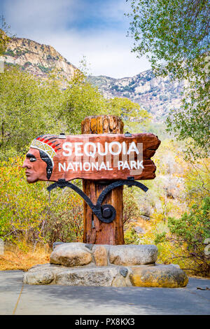 Classic view of traditional wooden Sequoia National Park entrance monument welcome sign in summer, California, USA - Stock Photo