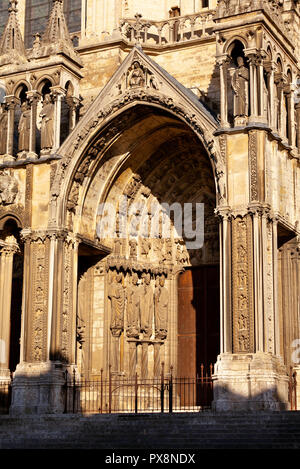 The entrance to Chartres Cathedral de Notre Dame, France - Stock Photo