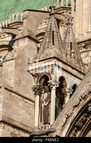 The extrior of Chartres Cathedral de Notre Dame, France - Stock Photo