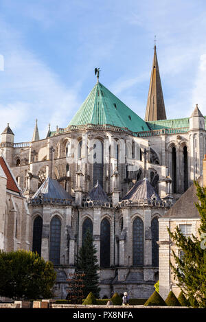 Detail of flying buttress on Cathedral de Notre Dame, Chartres, France. - Stock Photo