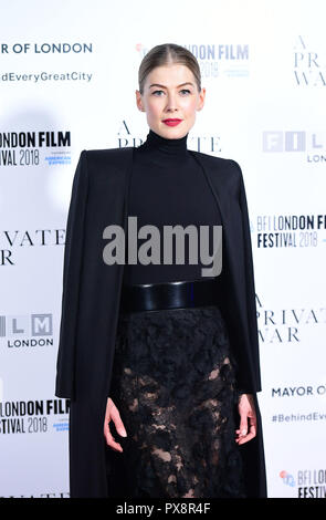 Rosamund Pike attending the A Private War Premiere as part of the BFI London Film Festival at the Cineworld Cinema in London. - Stock Photo
