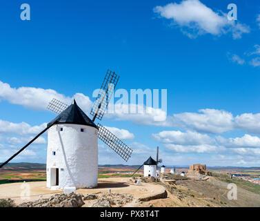Don Quixote windmills. Traditional windmills in Consuegra, Castilla La Mancha, Spain - Stock Photo