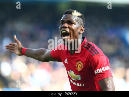 London, England - October 20: 2018 Manchester United's Paul Pogba during Premier League between Chelsea and Manchester United at Stamford Bridge stadium , London, England on 20 Oct 2018. Credit Action Foto Sport Credit: Action Foto Sport/Alamy Live News - Stock Photo