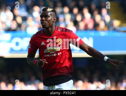 London, England - October 20: 2018 Manchester United's Paul Pogba during Premiership League between Chelsea and Manchester United at Stamford Bridge stadium , London, England on 20 Oct 2018. Credit Action Foto Sport Credit: Action Foto Sport/Alamy Live News - Stock Photo
