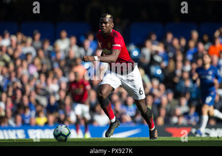 London, UK. 20th October 2018. Paul Pogba of Man Utd during the Premier League match between Chelsea and Manchester United at Stamford Bridge, London, England on 20 October 2018.  **EDITORIAL USE ONLY** - Photo by Andy Rowland / PRiME Media Images. Credit: Andrew Rowland/Alamy Live News - Stock Photo