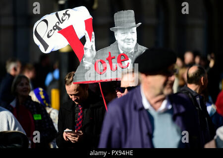 London, UK. 20 October, 2018. The People's Vote March takes place in central London, from Park Lane at midday to Parliament Square, attracting huge crowds of anti-Brexit activists demanding another referendum the final Brexit deal. Credit: Malcolm Park/Alamy Live News. - Stock Photo
