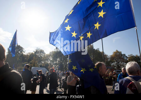 London, UK. 20th Oct, 2018. Protesters waving EU flags at the anti-Brexit People's Vote March in central London, 20 October 2018 Credit: Hallberg Photo/Alamy Live News - Stock Photo