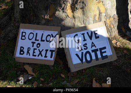 London, UK. 20th Oct, 2018. Signs on the floor, 'March for the Future', rally calling for a second EU referendum on Brexit organised by the People's Vote campaign, London, 20 October 2018 Credit: Robert Smith/Alamy Live News - Stock Photo