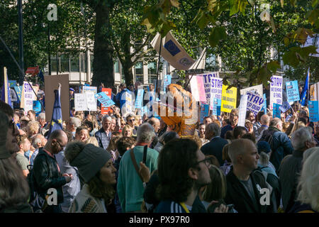 London, UK. 20 October 2018.  Over 500,000 people are estimated to have taken part in the March for a People's Vote today, from Park Lane to Parliament Square in London.  Steve Sheppardson/Alamy Live News - Stock Photo