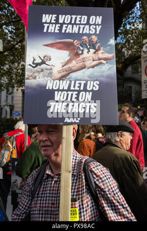 London, UK. 20th October, 2018. A man with a placard joins hundreds of thousands of people taking part in the People's Vote March for the Future to demand a vote on the final Brexit deal. The People's Vote is a grassroots campaign supported by Open Britain, European Movement UK, Britain for Europe, Scientists for EU, Healthier In, Our Future Our Choice, For Our Future's Sake, Wales For Europe and InFacts. Credit: Mark Kerrison/Alamy Live News - Stock Photo