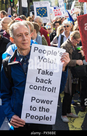 London, UK. 20th October, 2018. Human rights campaigner Peter Tatchell joins hundreds of thousands of people taking part in the People's Vote March for the Future to demand a vote on the final Brexit deal. The People's Vote is a grassroots campaign supported by Open Britain, European Movement UK, Britain for Europe, Scientists for EU, Healthier In, Our Future Our Choice, For Our Future's Sake, Wales For Europe and InFacts. Credit: Mark Kerrison/Alamy Live News - Stock Photo