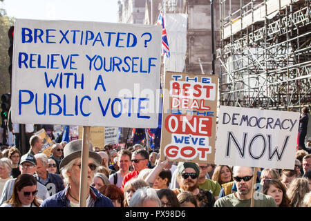 London, UK. 20th October, 2018. Hundreds of thousands of people, led by young people who were unable to vote in the Brexit referendum in 2016, take part in the People's Vote March for the Future to demand a vote on the final Brexit deal. The People's Vote is a grassroots campaign supported by Open Britain, European Movement UK, Britain for Europe, Scientists for EU, Healthier In, Our Future Our Choice, For Our Future's Sake, Wales For Europe and InFacts. Credit: Mark Kerrison/Alamy Live News - Stock Photo