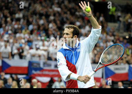 Prague, Czech Republic. 18th Oct, 2018. Double winner of Davis Cup Radek Stepanek say goodbye to his tennis career on October 18 at the O2 arena in Prague in the Czech Republic. Credit: Slavek Ruta/ZUMA Wire/Alamy Live News - Stock Photo