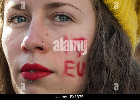London, UK. 20th October, 2018. People's Vote March. Hundreds of thousands take part in the People's Vote March for the Future to demand a vote on the final Brexit deal. Credit: Guy Corbishley / Alamy Live News - Stock Photo