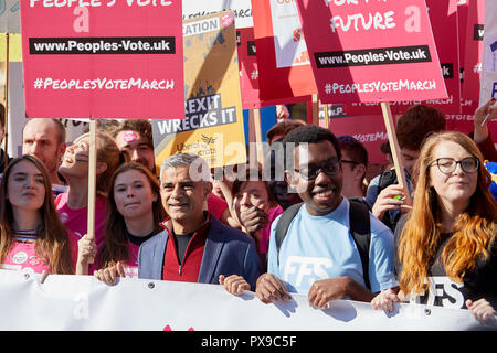 London, UK. 20th Oct, 2018. London Mayor Sadiq Khan with young voters at the  People's Vote march. Credit: Kevin J. Frost/Alamy Live News - Stock Photo