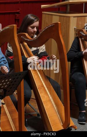 Cork, Ireland. 20th Oct, 2018.  Performing here Aoife Aheran. National Harp Day/ Lá na Cruite, Crawford Art Gallery, Cork City. National Harp Day/ Lá na Cruite took place today with many events in venues throughout the country. Crawford Art Gallery was one of the venues to host an event. The gallery saw Damhnait Sweeny, Oisin Morrison and Orla Busteed performing as well as a variety of other harpists who played throughout the gallery during the day. Credit: Damian Coleman/Alamy Live News. - Stock Photo
