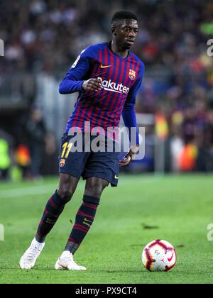 Camp Nou, Barcelona, Spain. 20th Oct, 2018. La Liga football, Barcelona versus Sevilla; Ousmane Dembele of FC Barcelona with the ball Credit: Action Plus Sports/Alamy Live News - Stock Photo