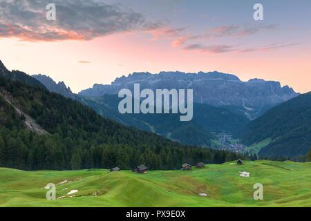 Sunrise in the pasture of Daunei. Selva Val Gardena, Gardena Valley, South Tyrol, Dolomites, Italy, Europe. - Stock Photo