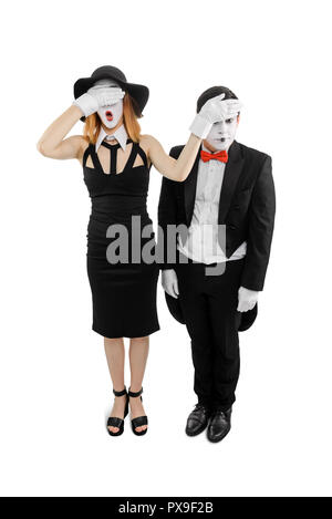 Female and male mime artist - Stock Photo