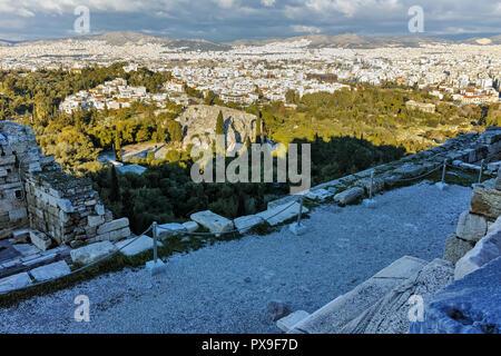 Propylaea - monumental gateway in the Acropolis of Athens, Attica, Greece - Stock Photo