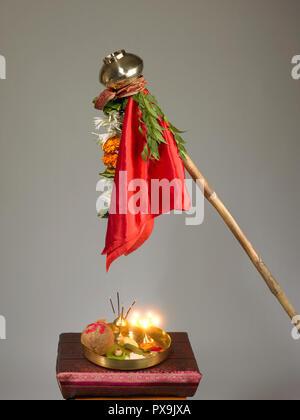 A STILL LIFE SHOWING THE OBJECTS USED DURING THE CELEBRATION OF GUDI PADWA, MUMBAI, MAHARASHTRA, INDIA - Stock Photo