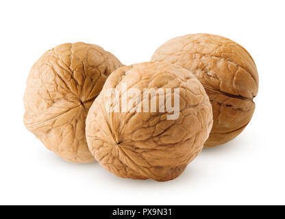 walnut isolated on white background, clipping path, full depth of field - Stock Photo